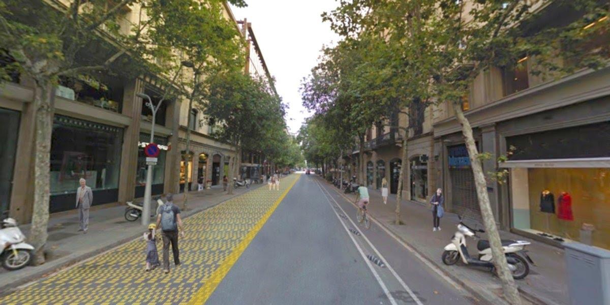 Simulación de la peatonalización de la calle de Consell de Cent